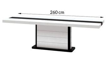 Bild 6 - Design Esstisch HE-555 Weiß - Schwarz Hochglanz ausziehbar 160 / 210 / 260 cm