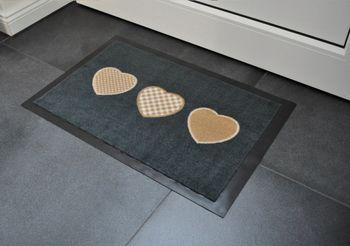 Fußmatte Schmutzfangmatte Fußabtreter Türmatte 40 x 60 cm Herzen Grau Braun FM-7