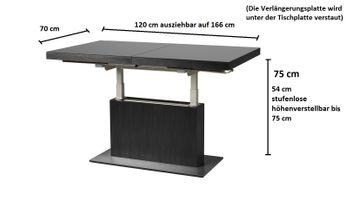 Bild 3 - Design Couchtisch Tisch MN-3 Schwarz Seidenmatt Schwarzglas höhenverstellbar & ausziehbar