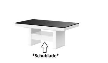 Bild 5 - Design Couchtisch HLU-111 Schwarz Weiß Hochglanz Schublade höhenverstellbar ausziehbar