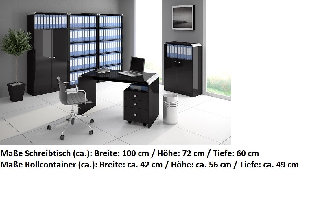 Schreibtisch Bürotisch Hb 111 Schwarz Hochglanz Highgloss Tisch