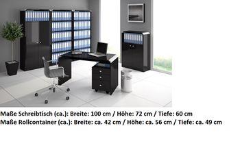 Bild 2 - Schreibtisch Bürotisch HB-111 Schwarz Hochglanz Highgloss Tisch 100cm