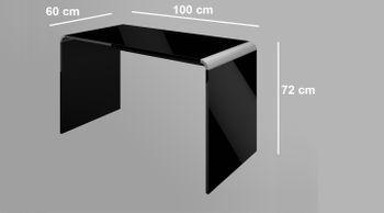 Bild 4 - Schreibtisch Bürotisch HB-111 Schwarz Hochglanz Highgloss Tisch 100cm