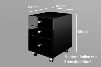 Bild 2 - Design Rollcontainer Rollwagen Container Büroschrank HN-555 Schwarz Hochglanz