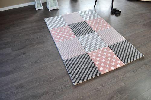 Hochwertiger FLORA Design Teppich Relief TF-23 Rosa Grau Weiß STERNE 80 x 150