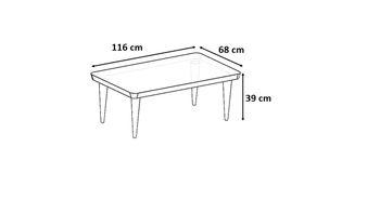 Bild 6 - Design Couchtisch Tisch SH-1 Creme - Nussbaum / Walnuss