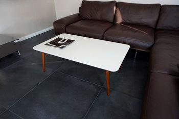 Bild 2 - Design Couchtisch Tisch SH-1 Creme - Nussbaum / Walnuss