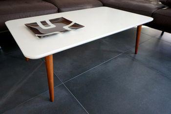 Bild 4 - Design Couchtisch Tisch SH-1 Creme - Nussbaum / Walnuss