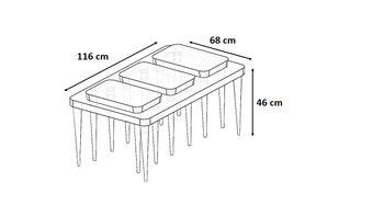 Bild 8 - Design Couchtisch inkl. 3x Beistelltisch SH-2 Nussbaum / Walnuss Echtholzfurnier