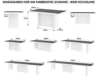 Bild 3 - Design Esstisch HE-777 Weiß Hochglanz ausziehbar 140 / 188 / 236 / 284 / 332 cm