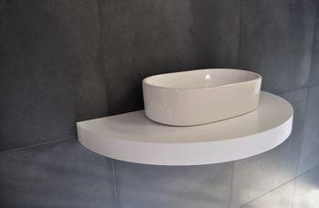 Bild 3 - Edler Waschtisch Waschtischplatte Waschkonsole oval / rund Weiß mit Halterung OT-100 Carl Svensson