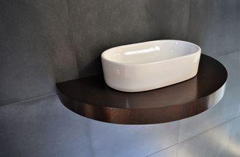 Bild 3 - Edler Waschtisch Waschtischplatte oval / rund Walnuss - Wenge mit Halterung OT-80 Carl Svensson