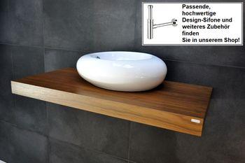 Bild 2 - Waschtisch Waschtischplatte Nussbaum / Walnuss inklusive Handtuchhalter WT-60H Carl Svensson