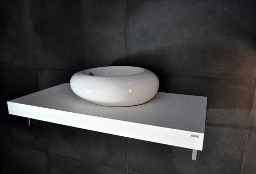 Edler Waschtisch Waschtischplatte Weiß mit Handtuchhalter WT-80H Carl Svensson