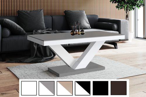 Design Couchtisch Tisch HV-888 Anthrazit - Grau MATT /  Weiß HOCHGLANZ KOMBINATION