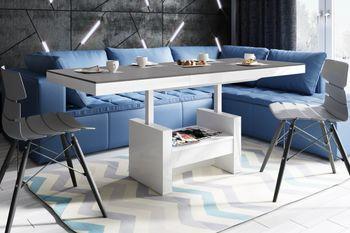 Design Couchtisch Tisch HLU-111 Anthrazit MATT / Weiß HOCHGLANZ Schublade höhenverstellbar ausziehbar Esstisch