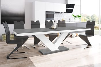 Design Esstisch Tisch HE-999 Anthrazit MATT / Weiß HOCHGLANZ KOMBINATION ausziehbar 160 bis 256 cm
