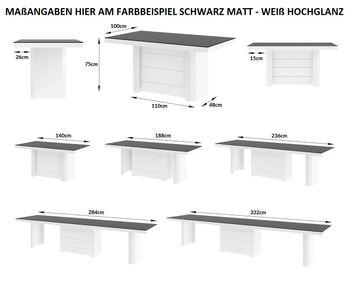 Bild 4 - Design Esstisch HE-777 Anthrazit MATT / Weiß HOCHGLANZ KOMBINATION XXL ausziehbar 140 bis 332 cm