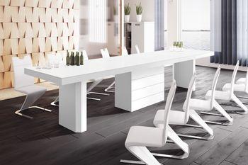 Design Esstisch Tisch HE-444 Weiß MATT / HOCHGLANZ KOMBINATION XXL ausziehbar 160  bis 412 cm
