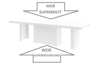 Bild 4 - Design Esstisch HE-444 Weiß MATT / HOCHGLANZ KOMBINATION XXL ausziehbar 160  bis 412 cm