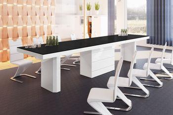 Design Esstisch Tisch HE-444 Schwarz MATT / Weiß HOCHGLANZ KOMBINATION XXL ausziehbar 160 bis 412 cm