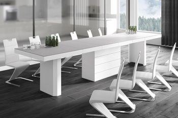 Design Esstisch Tisch HE-444 Hellgrau (Beigeton) MATT / Weiß HOCHGLANZ KOMBINATION XXL ausziehbar 160 bis 412 cm