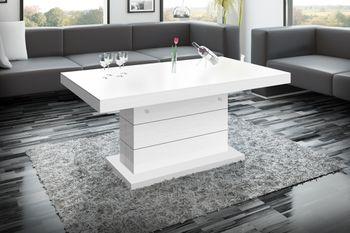 Bild 3 - Design Couchtisch H-333 Weiß MATT / HOCHGLANZ KOMBINATION höhenverstellbar ausziehbar