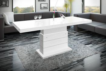 Design Couchtisch H-333 Weiß MATT / HOCHGLANZ KOMBINATION höhenverstellbar ausziehbar