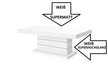 Bild 5 - Design Couchtisch H-333 Weiß MATT / HOCHGLANZ KOMBINATION höhenverstellbar ausziehbar