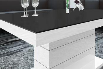 Bild 4 - Design Couchtisch Tisch H-333 Schwarz MATT / Weiß HOCHGLANZ KOMBINATION höhenverstellbar ausziehbar