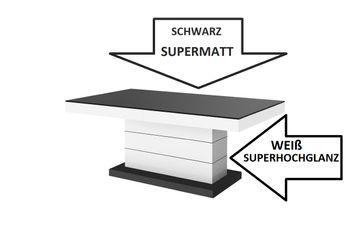 Bild 5 - Design Couchtisch Tisch H-333 Schwarz MATT / Weiß HOCHGLANZ KOMBINATION höhenverstellbar ausziehbar