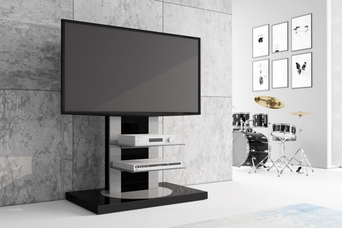 fernsehtisch roma h 777nw schwarz hochglanz 360 drehbar tv m bel tv rack lcd inkl tv halterung. Black Bedroom Furniture Sets. Home Design Ideas