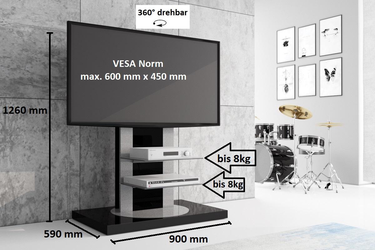 Fernsehtisch Roma H 777nw Schwarz Hochglanz 360 Drehbar Tv Möbel Tv