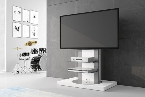 design fernsehtisch roma h 777nw wei hochglanz 360 drehbar tv m bel tv rack lcd inkl tv. Black Bedroom Furniture Sets. Home Design Ideas