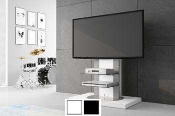 Design Fernsehtisch Roma H-777nw Weiß Hochglanz 360° drehbar TV Möbel TV Rack TV- Ständer LCD inkl. TV-Halterung