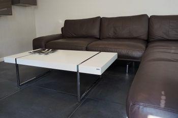 Design Couchtisch Tisch Wohnzimmertisch S-111 Carl Svensson Weiß Chrom