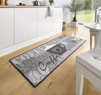 Küchenläufer Küchenmatte Läufer Küchenteppich Coffee Espresso Grau KL-23