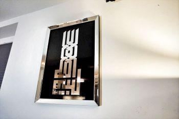 Bild 5 - Design Wandbild Spiegelglas Glasbild Spiegelrahmen handmade Carl Svensson 50x70 Kufi Silber