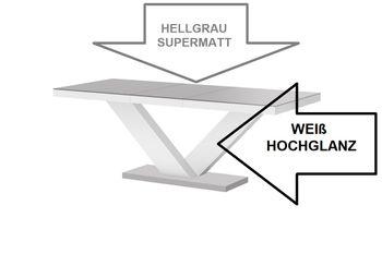 Design esstisch he 999 grau matt wei hochglanz for Design esstisch he 999