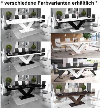 Bild 4 - Design Esstisch Tisch HE-999 Cappuccino / Weiß Hochglanz ausziehbar 160 bis 256 cm