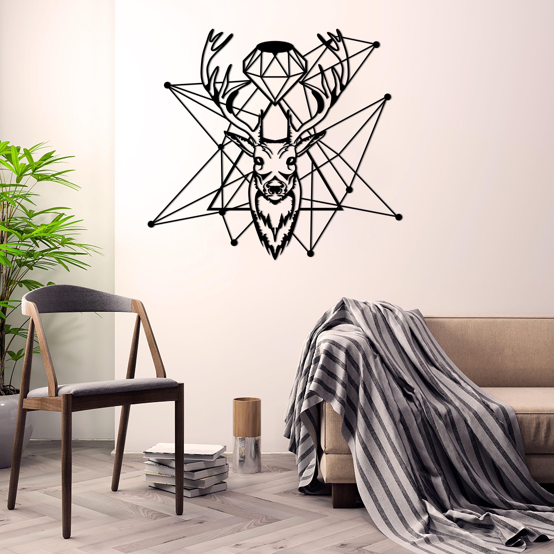 3D Wandbild Metall Wanddekor Hirsch Geweih in zwei Größen schwarz ARCHTWAIN