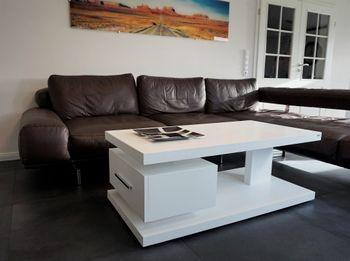 Bild 2 - Design Couchtisch Tisch G-18 Weiß Schublade Stauraum Carl Svensson