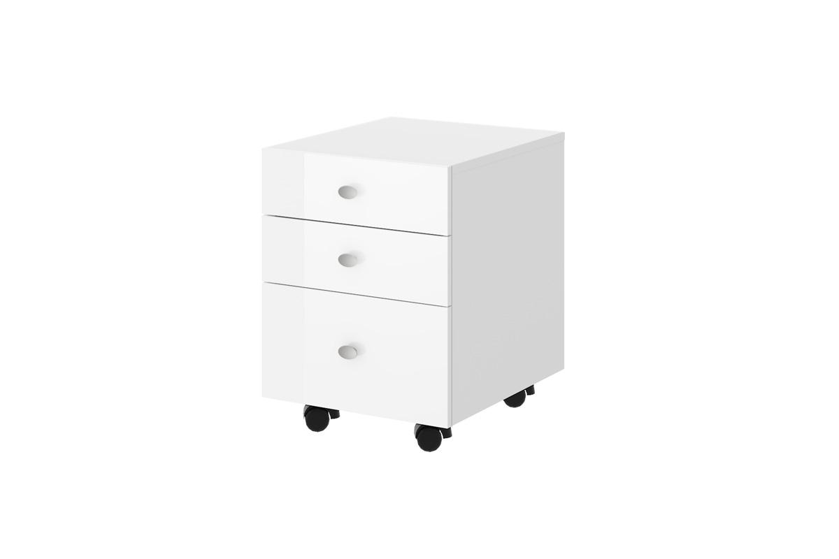Schreibtisch Hb 111 Rollcontainer Hn 555 Weiß Hochglanz Highgloss