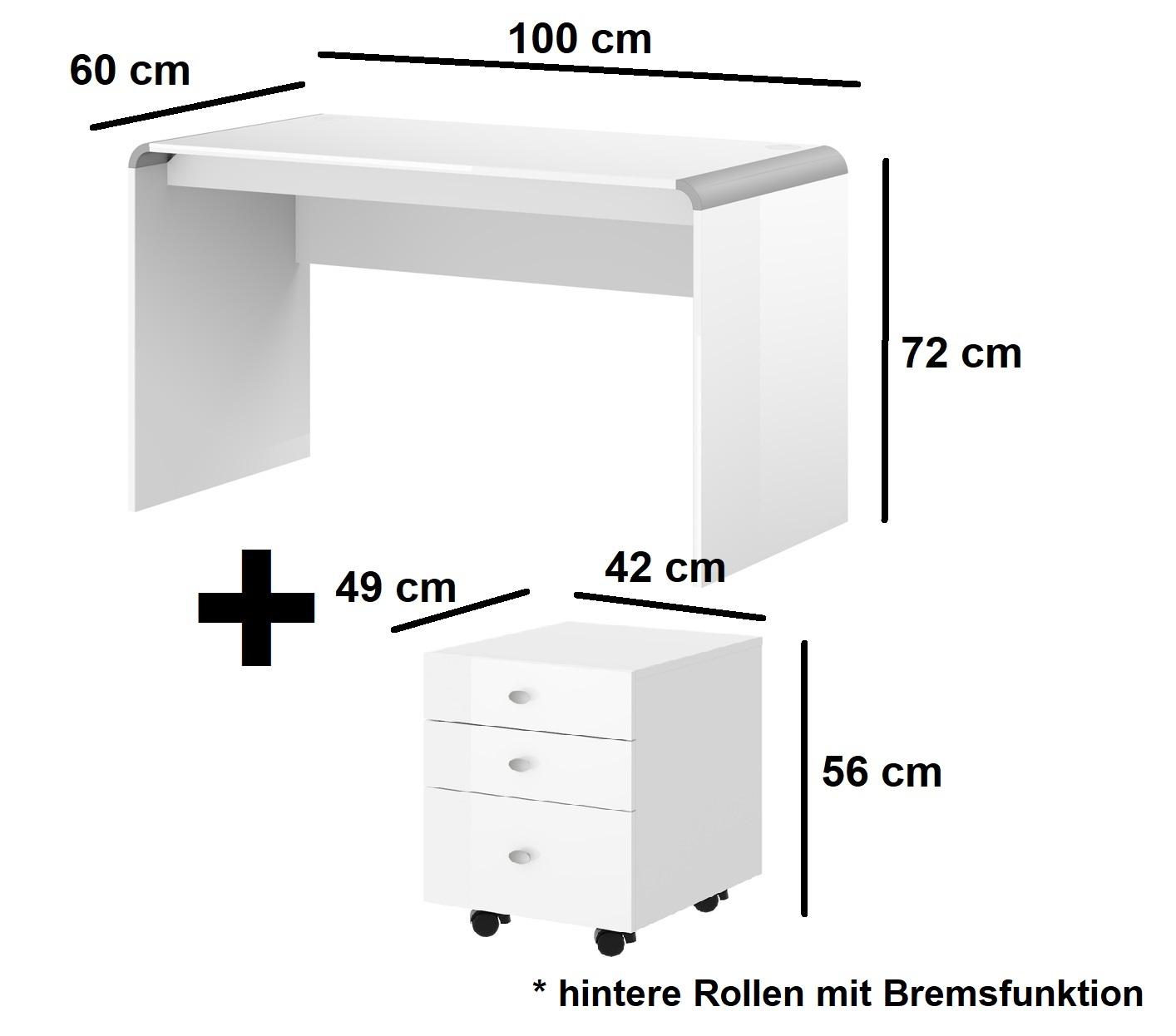 Schreibtisch HB-111 + Rollcontainer HN-555 Weiß Hochglanz