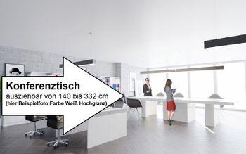 Bild 5 - Design Konferenztisch Tisch HE-777 Grau / Weiß Hochglanz XXL ausziehbar 140 bis 332 cm