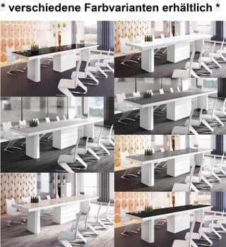 Bild 12 - Design Konferenztisch Tisch HE-444 Schwarz / Weiß Hochglanz XXL ausziehbar 160 bis 412 cm