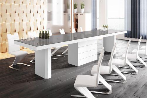 Design Konferenztisch HE-444 Grau / Weiß Hochglanz XXL ausziehbar 160 bis 412 cm