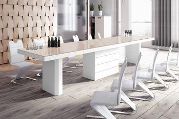Design Konferenztisch HE-444 Cappuccino / Weiß Hochglanz XXL ausziehbar 160 bis 412 cm