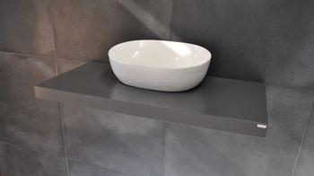 Edler Waschtisch Carl Svensson MN-100  Grau Seidenmatt Waschtischplatte Waschkonsole inklusive Halterung
