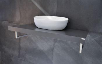 Edler Waschtisch MN-100H Carl Svensson Waschtischplatte Grau Seidenmatt inklusive Handtuchhalter